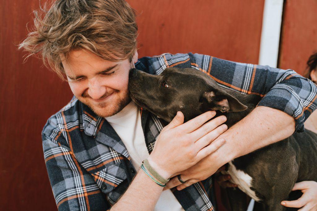 犬と戯れるイケメン