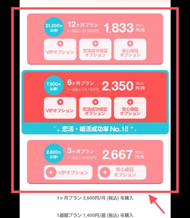 with 男性有料プラン一覧画面