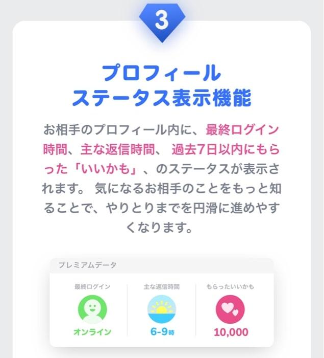 タップルのプレミアムオプション|ステータス表示機能画面