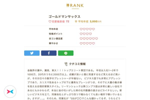 フェリ恋 神ランク 恋愛四季報 ゴールドマンサックス